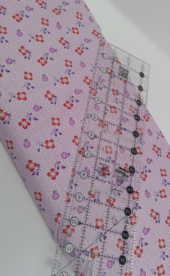 Lilac Lavender And Red Flowers, Toy Chest Florals From Washington Street Studio's For P&B Textiles, Fabric By The Yard 0418c