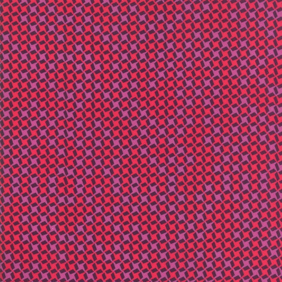 Pink Whirly Checks On Plum Background, Digital Quilt Prints Crystal Manning by Moda, Fabric by the Yard 11837 15