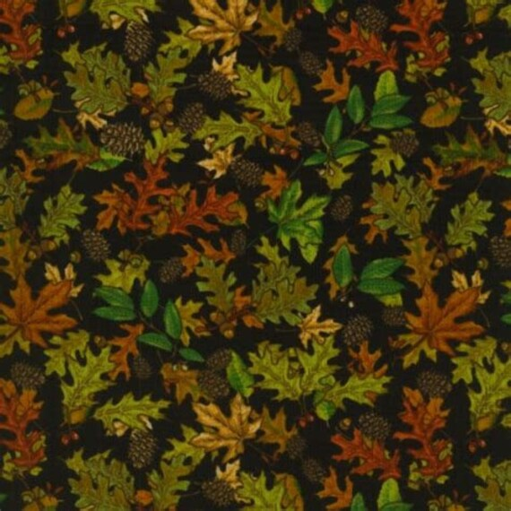 Country Cabin Fall Leaves On Black Background by Dan Morris, Quilt Fabric by the Yard, 1609 Black