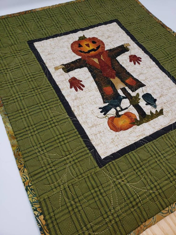 Jack O Lantern Pumpkin Scarecrow On A Post Fun Halloween Fall Table Topper With Yellow-Green Plaid Border, Backed In Batik Handmade