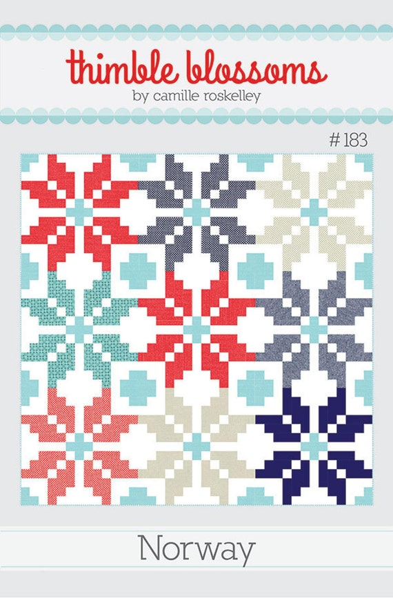 Scandinavian Cottage Style Quilt Pattern, Simple Strip Piecing, Northern Style, Norwegian Sweater Design, Easy Quilt Pattern, Norway #183