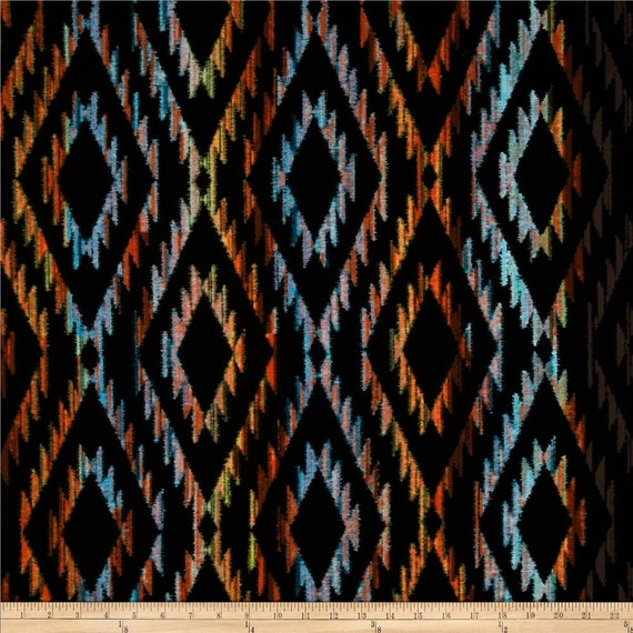 Tribal Blanket Orange, Red, Blue and Pink On Black Background, Fabric by the Yard Michael Miller Fabrics CX5744 SUNS D