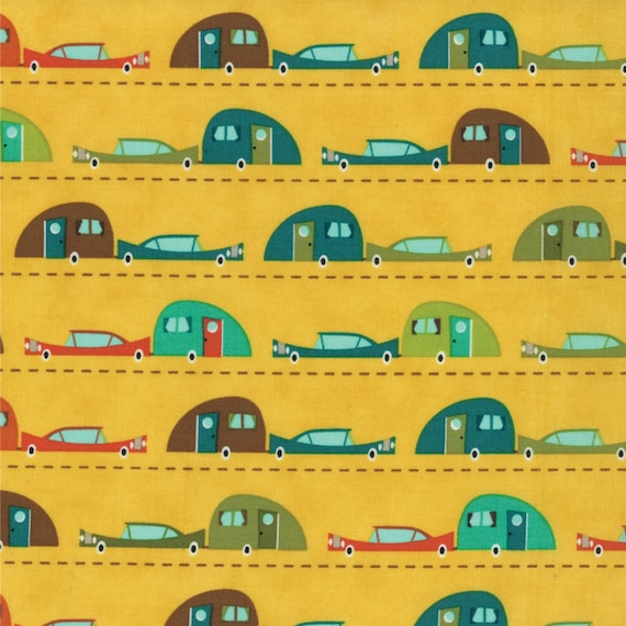 S'More Love Vintage Cars and Camp Trailers On Yellow Background, Designers Eric & Julie Comstock, For Moda Fabrics by the Yard  37071 12