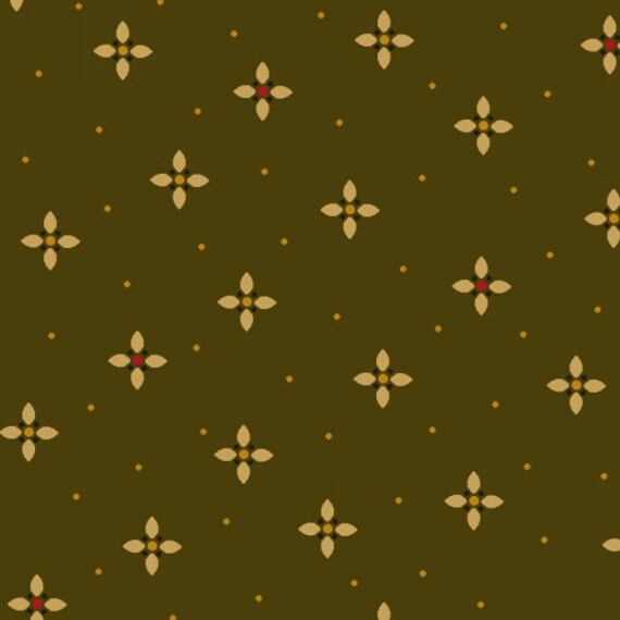 Tiny Gold Geometric Petals And Dots On Green Background Farmstead Harvest Quilt Fabric by Kim Diehl, Cotton Print Fabric by the Yard 6937 66