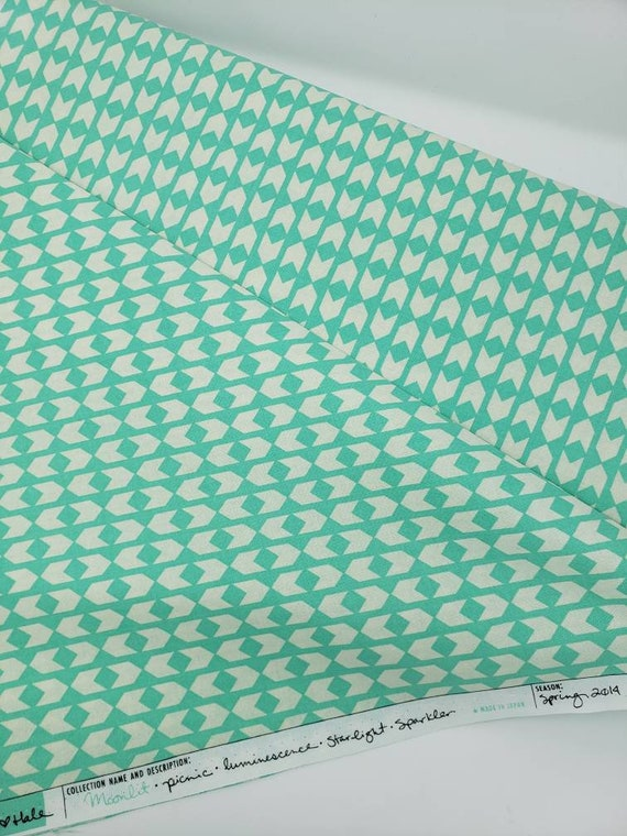 White Arrows On Light Teal Green, Moonlit Spring 2014 Collection Cotton And Steel Rashida Coleman Hale,  Fabric by the Yard 1906 001