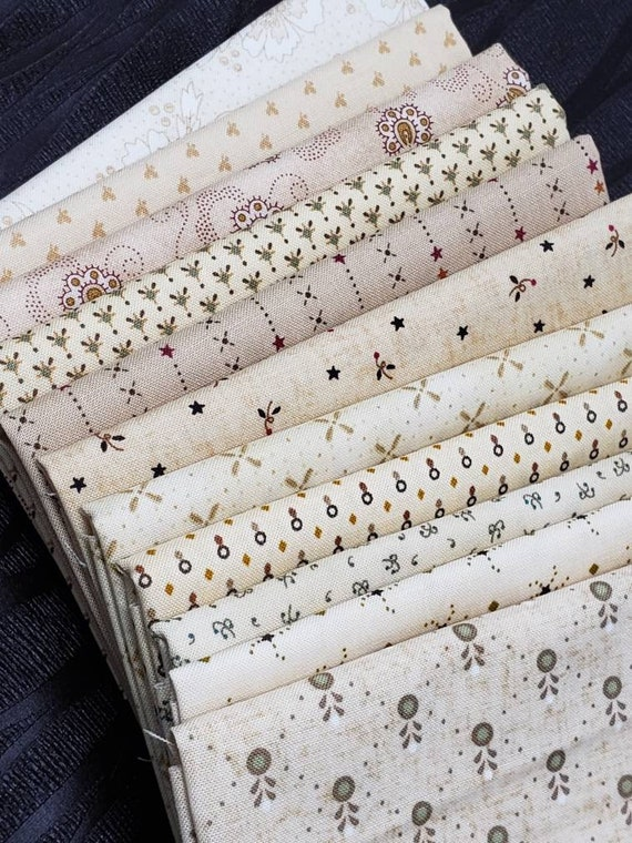 Kim Diehl Neutral Fat Eighth Bundle of 11 Prints.  Quality Quilting Cottons With Vines, Dots, Tiny Flowers, Primitive Shirting Material