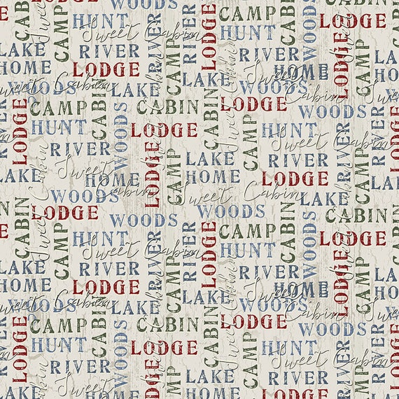 Lodge Words On Cream Background, Cabin In The Woods, Hunt By The River, Rustic Cabin Decor, Twilight Lake Quilt Fabric by the Yard 1687 44