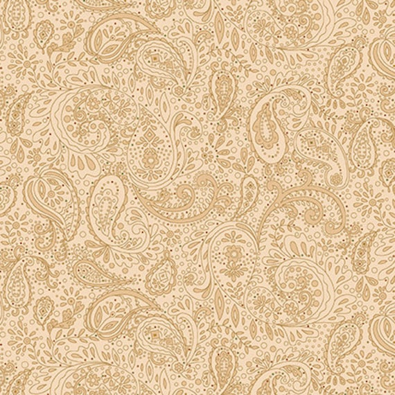 Kim Diehl Butter Churn Basics Beige Small Cream Paisley With Multicolored Dots, Henry Glass Fabrics by the Yard 1444 33