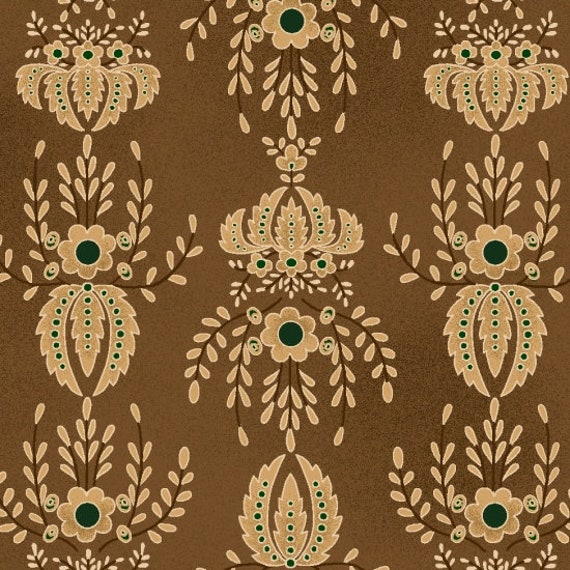 Cream, Taupe Damask Type Print With Green Dots On Tonal Brown Farmstead Harvest by Kim Diehl, Cotton Print Quilt Fabric by the Yard 6943 33