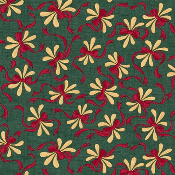 Red Bows and Branches On Teal Vintage Farmhouse Collection from Kim Diehl Fabrics by The Yard 6226 11