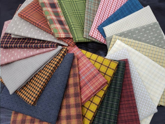 Fat Quarter Bundle of 22 Hand Cut Homespun Yarn Dye Shirting Fabrics From Henry Glass In Scrapy Collection Fall Decor