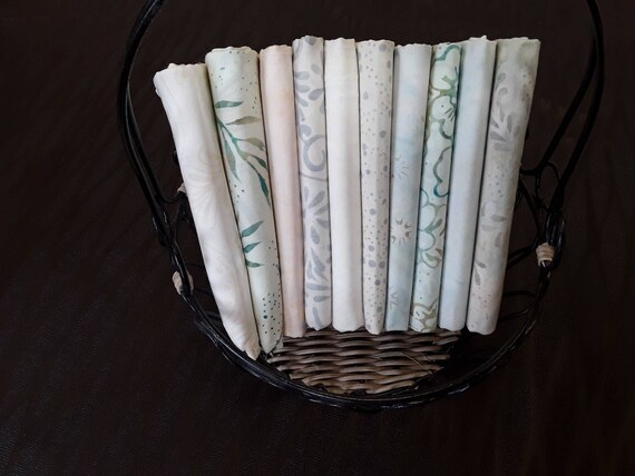 Neutral Batik Quilt Fabric Bundle of 10 Half Yard Cuts From Batik Textiles.  Backgrounds Creme, Light Gray, Light Green, Light Blue, Peach
