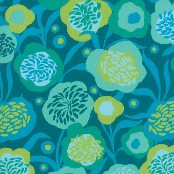 Turquoise Teal Blue Modern Floral, Digital Quilt Prints Crystal Manning by Moda, Fabric by the Yard 11831 11