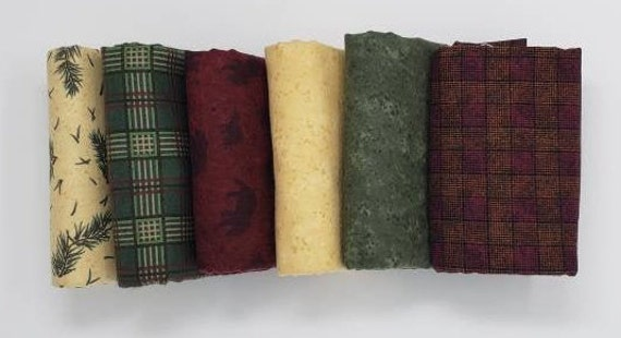 Winter Flannel 6 Half Yard Cuts of Moda Flannel Fabrics Perfect For A Winter Quilt Project, Bears, Forest Fir Stems, Plaids and Solids