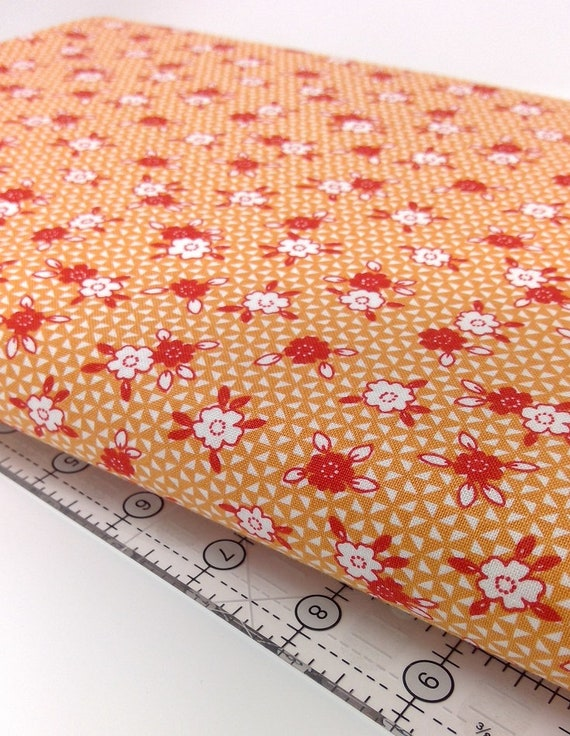 White And Red Wildflowers On Orange, Toy Chest Florals, Washington Street Studio's For P&B Textiles, Fabric By The Yard 0414o