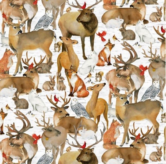 Deer, Elk, Owls, Bunnies, Fox and Cardinals on Soft White Background, Fabric by the Yard, by Barb Tourtillotte, 1309-93