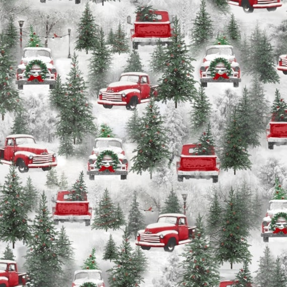 Red Truck At The Tree Farm Picking Out The Best Christmas Tree, Merry Christmas. Quilt Fabric by the Yard 6928 86