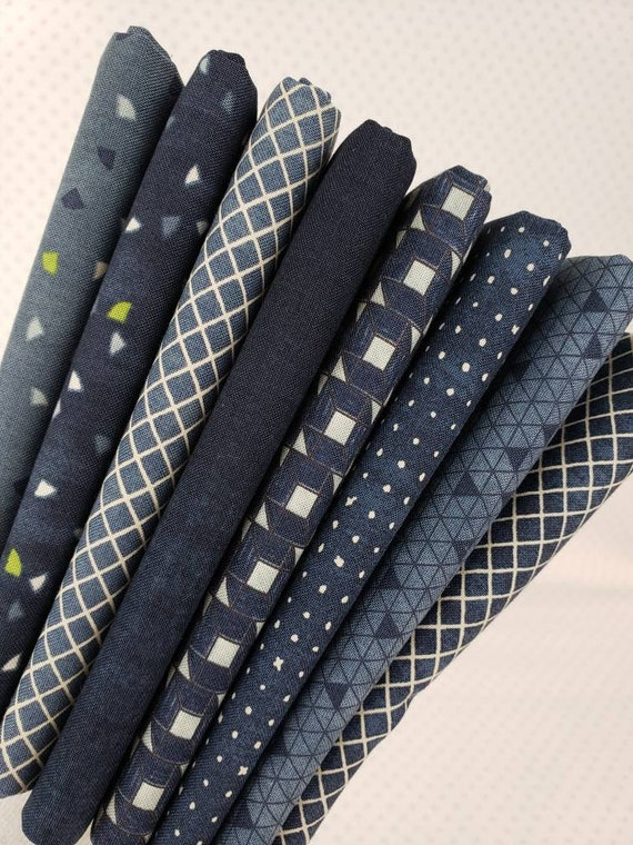 Denim Blue Fat Quarter Bundle of 8 Handcut Navy Geometric Quilt Cotton Prints, Designer Janet Clare For Moda Fabrics