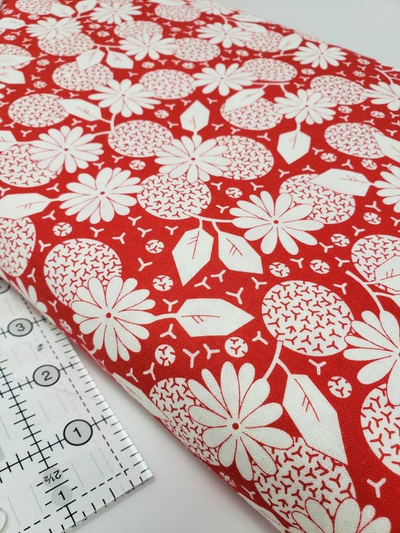 White Dandelions And Circles On Red, Feedsack Reproductions by Sara Morgan, Washington Street Studio Quilt Fabric by the Yard 645r