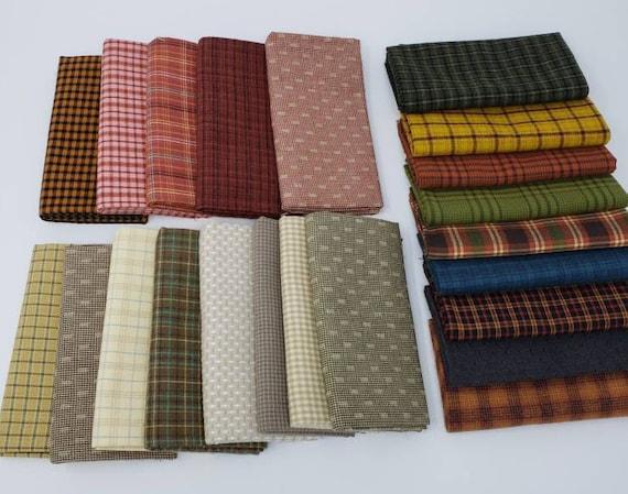 Fat Quarter Bundle of 22 Hand Cut Homespun Yarn Dye Shirting Fabrics From Henry Glass In Scrapy Collection Fall Decor