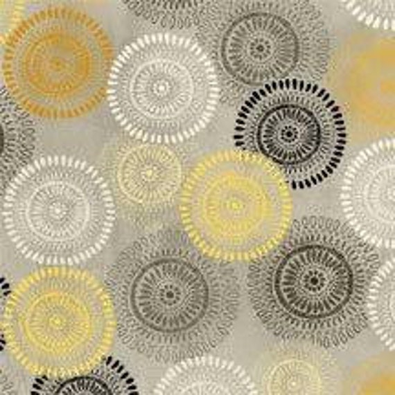 Bold Pencil Drawing Flowers In Yellow, Grey and Black, Felicity for Wilmington Prints, Modern Spring Quilt Fabric By The Yard 42375 951