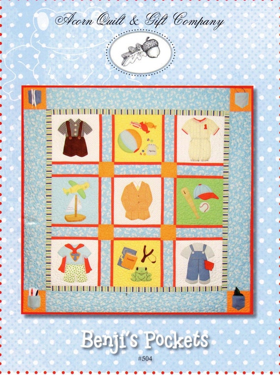 Memory Quilt Little Boy's Clothes Quilt Pattern, Benji's Pockets by Brenda Riddle, Clothes and Toys Sampler Quilt Pattern, Wall Hanging #504