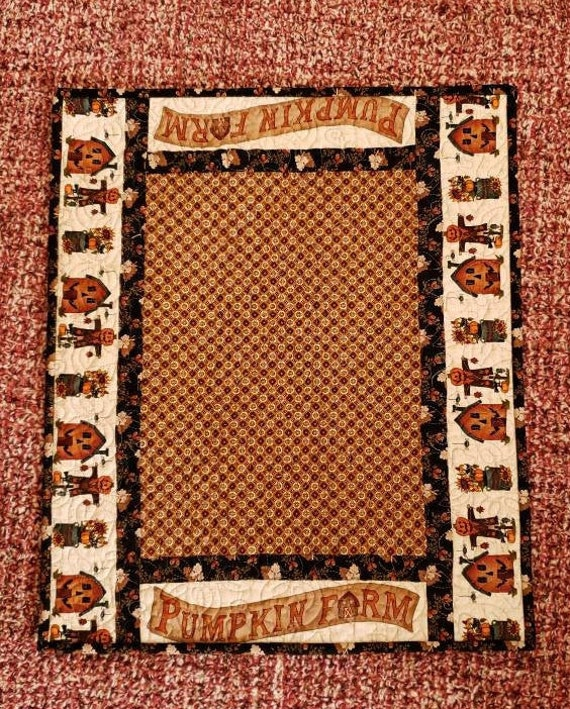 Pumpkin Farm Fall Harvest Table Topper-Folk Art Home Decor- Bordered With Scarecrows-Sunflower Pots-Jack O Lantern House-Spiders and Leaves