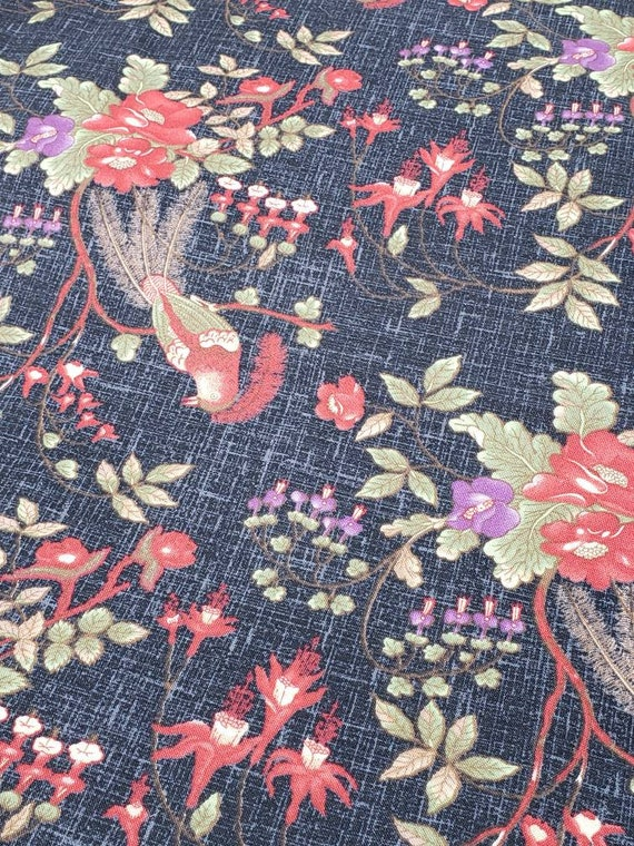 Enduring Grace by Kaye England For Wilmington Prints Quilt Fabric by the Yard, Red And Purple Flowers On Black 98525 937