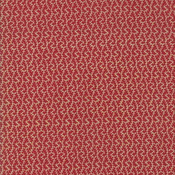 Vive La France Rouge and Tan, Tomato Red and Tan Squiggles Prints By French General For Moda Quilt Fabric by The Yard 13838 11