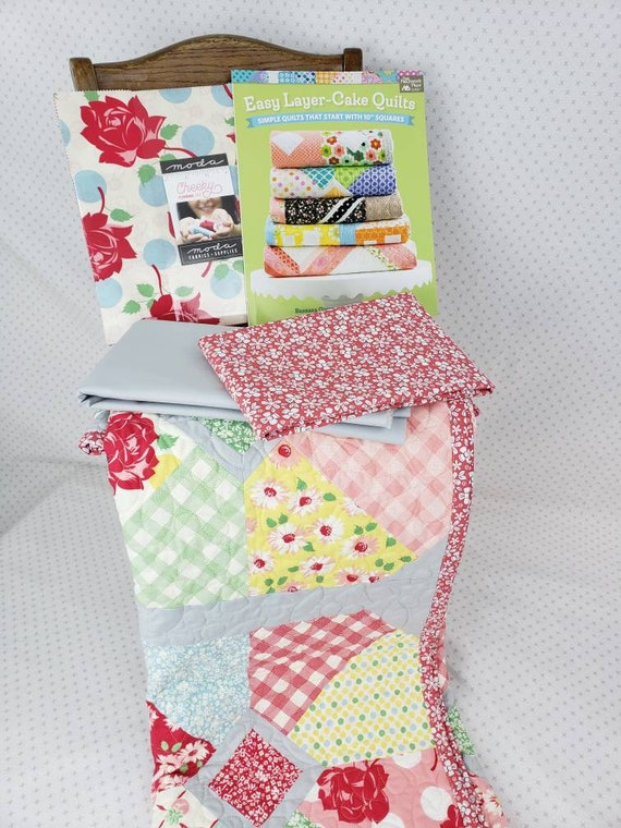 Easy Quilt Kit, Vintage Theme, Urban Chick's Cheeky Layer Cake, Squared Circles Size 53 x 53 Fabric And Book For Quilt Top And Binding