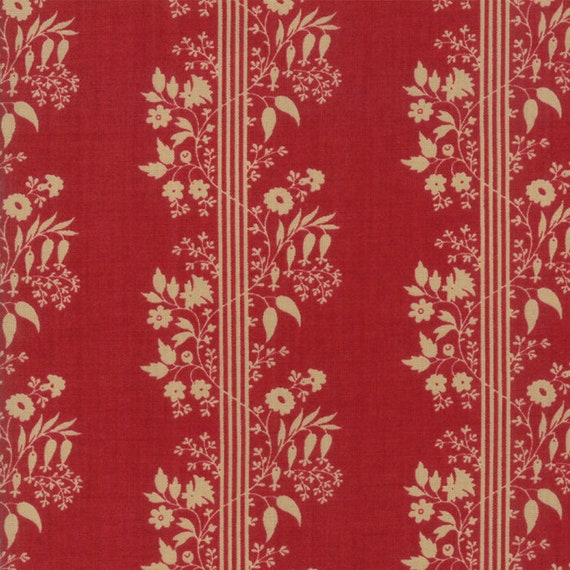 Vive La France Rouge and Tan, Tomato Red and Creme Stripe Prints By French General For Moda Quilt Fabric by The Yard 13833 11