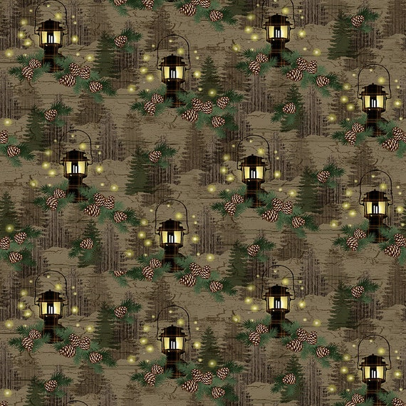 Pinecones On A Branch, Lantern Lights In The Woods, Mountain Pine Trees, Rustic Cabin Decor, Twilight Lake Quilt Fabric by the Yard 1688 33