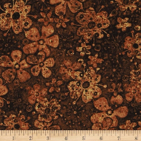 Tuscan Breeze Golden Brown Petals and Flowers, Quilt Fabric by the Yard For P&B Textiles. 893b