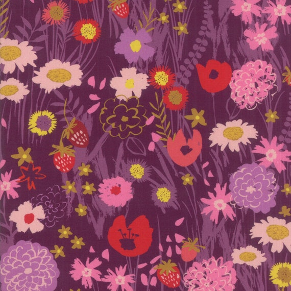 Dark Plum Floral With Wildflower Mix, Digital Quilt Prints Crystal Manning by Moda, Fabric by the Yard 11830 15