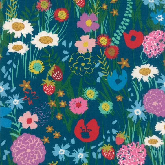 Teal Dark Blue With Wildflower Mix, Digital Quilt Prints Crystal Manning by Moda, Fabric by the Yard 11830 11