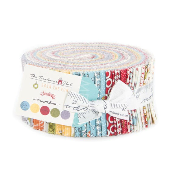 The Treehouse Jelly Roll from Moda, Designer Sweetwater, Child Theme With Construction Decor, Circles and Dots. 5630JR
