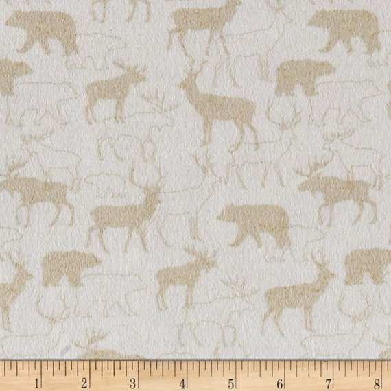 Taupe On Snow Animals In Woods - Holiday Christmas Flannel Fabric, Woodland Retreat by Jan Shade Beach, Fabric by the Yard, F6804 40