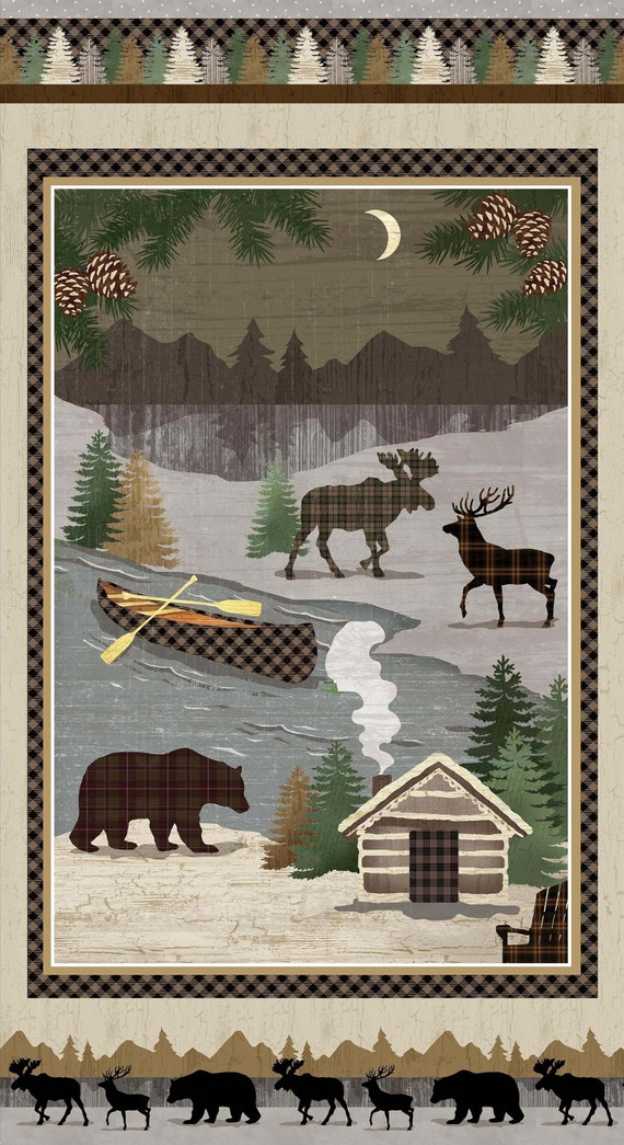 "Wildlife 22"" Panel of Winter Elk, Bear, Moose, Canoe On The River, Cozy Cabin In The Woods, Rustic Lodge Twilight Lake Quilt Fabric 1686P"