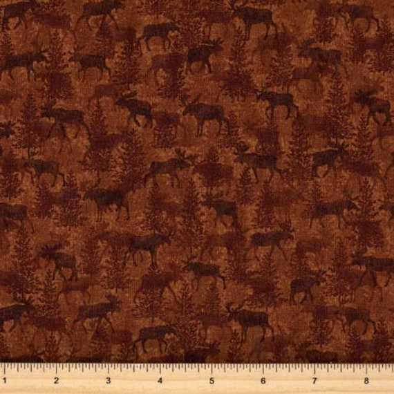 Moose On The Loose, Moose Crossing Cinnamon Tonal With Little Trees, Benartex Fabric by the Yard, 4302 70