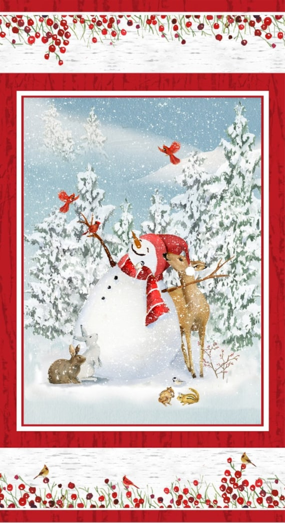 "Quilt Fabric Panel Of The Cutest Snowman In A Winter Wonderland Scene With Deer And Rabbits by Barb Tourtillotte, Panel Is 22"" by 42"""