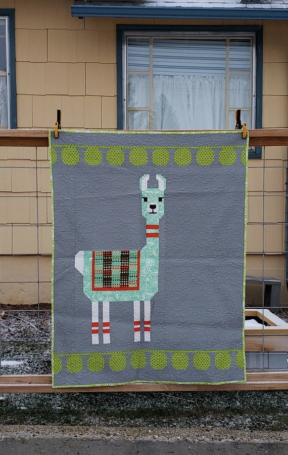 Modern Handmade Baby Quilt, Llama On Medium Grey, Blanket Throw Gift For Child, Soft And Cuddly With Lime Binding, Unique Baby Shower Gift