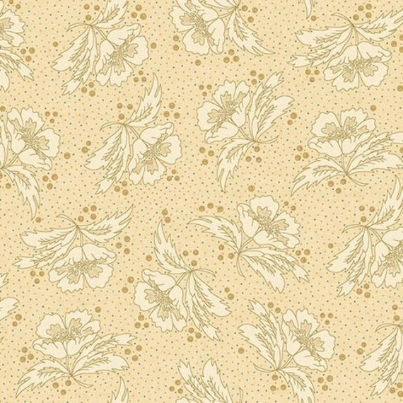 Kim Diehl Butter Churn Basics Beige Floral With Hint of Teal, Henry Glass Fabrics by the Yard 6284 33