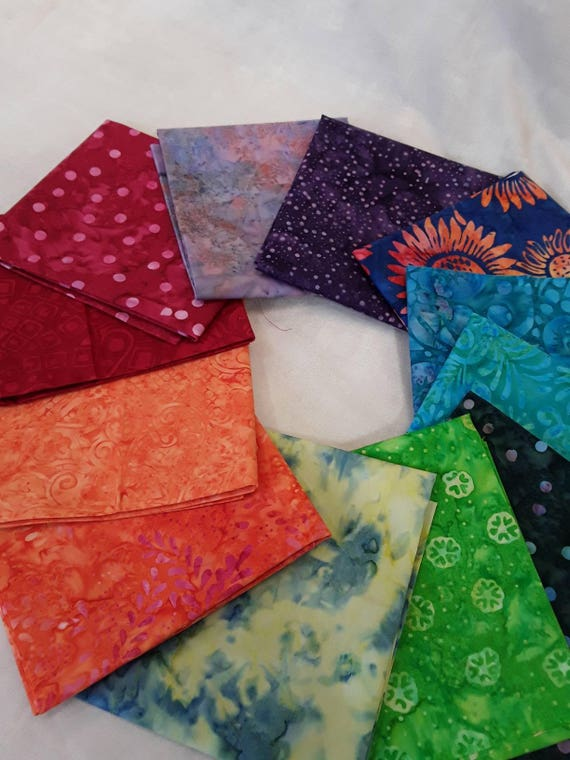 Batik Textiles Fat Quarter Bundle of 12 Hand Cut Rainbow Of Color. Use In Your Favorite 12 Pack Quilt Pattern. Group R