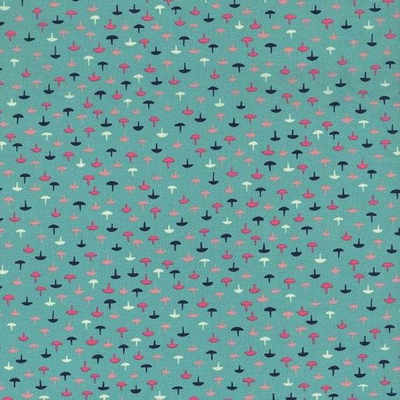 Navy, Pink, Peach and White Mushrooms on Soft Teal Aqua Background, Cotton and Steel Fabric by the Yard, Kim Kight Vintage Prints 3005 001