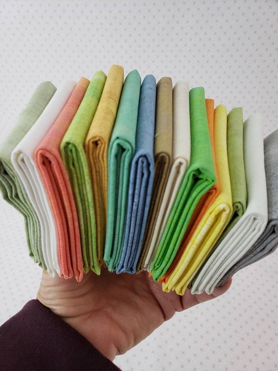 Grunge Fat Quarter Bundle of 15, Spring Lighter Color Mix With Whites, Greens, Orange and Grey, Moda Fabrics