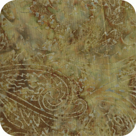 Moss Brown Paisley Print Malam Batik by Jinny Beyer for RJR Fabrics, Fabric by the Yard 1764 7