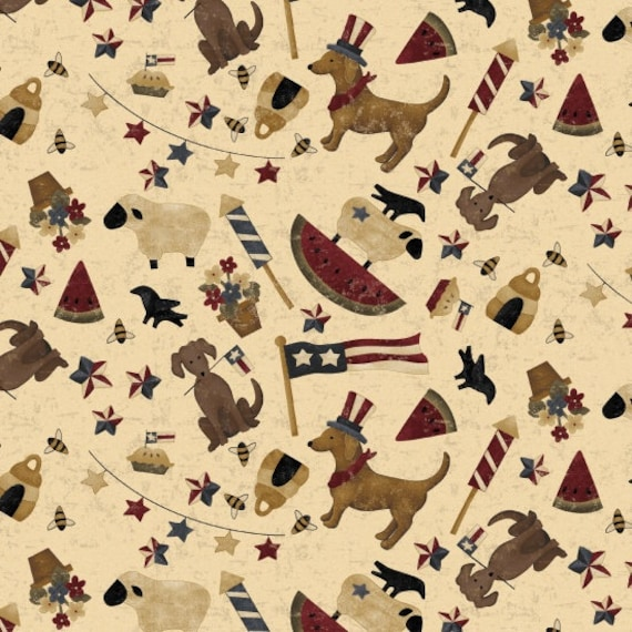 Primitive Folk Designs on Vintage Cream, Dogs, Apple Pie, Stars, Sheep, Fireworks, Spirit Of America, Stacy West, Buttermilk Basin 8869 44