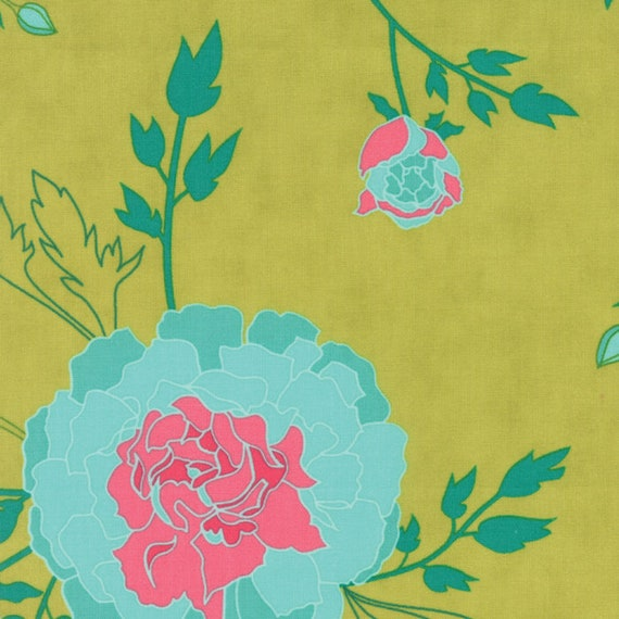 Scroll Grass Green with Blue Flowers,  Fabric From the Acreage Collection by Shannon Orr 45500 17