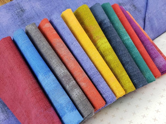 Grunge Fat Quarter Bundle of 12, Deep Saturated Jewel Colors of Purple, Blue, Orange, Burgandy and Green.  Moda Fabrics