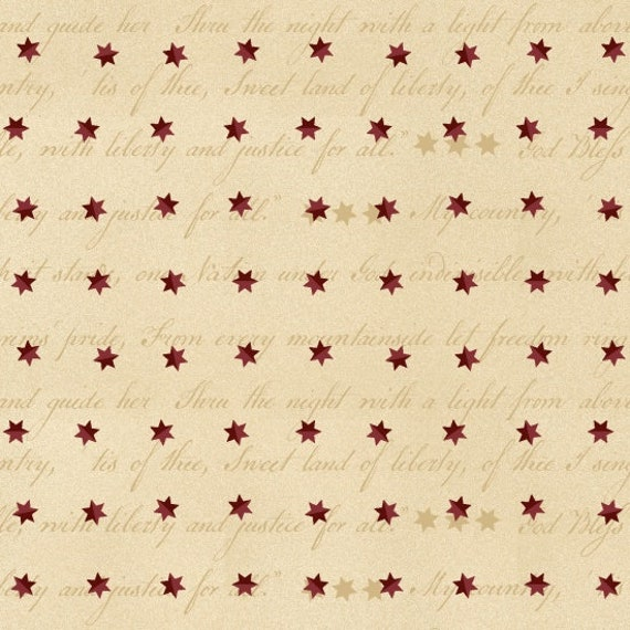 Red Folk Stars and Stripes On Vintage Creme Background, Patriotic Quilt Fabric, Spirit Of America, Stacy West, Buttermilk Basin 8866 44